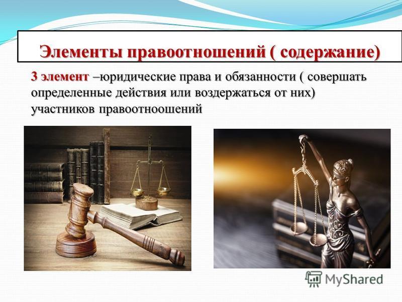 Элементы правоотношений ( содержание) 3 элемент –юридические права и обязанности ( совершать определенные действия или воздержаться от них) участников правоотношений