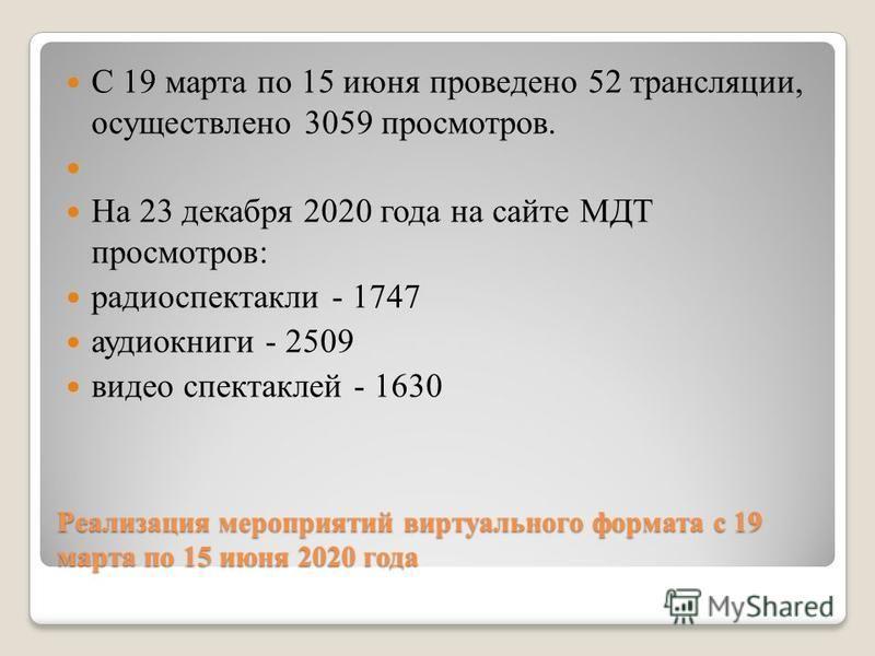 Реализация мероприятий виртуального формата с 19 марта по 15 июня 2020 года С 19 марта по 15 июня проведено 52 трансляции, осуществлено 3059 просмотров. На 23 декабря 2020 года на сайте МДТ просмотров: радиоспектакли - 1747 аудиокниги - 2509 видео сп