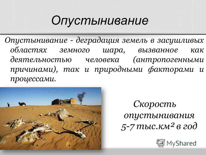 Скорость опустынивания 5-7 тыс.км² в год Опустынивание - деградация земель в засушливых областях земного шара, вызванное как деятельностью человека (антропогенными причинами), так и природными факторами и процессами. Опустынивание