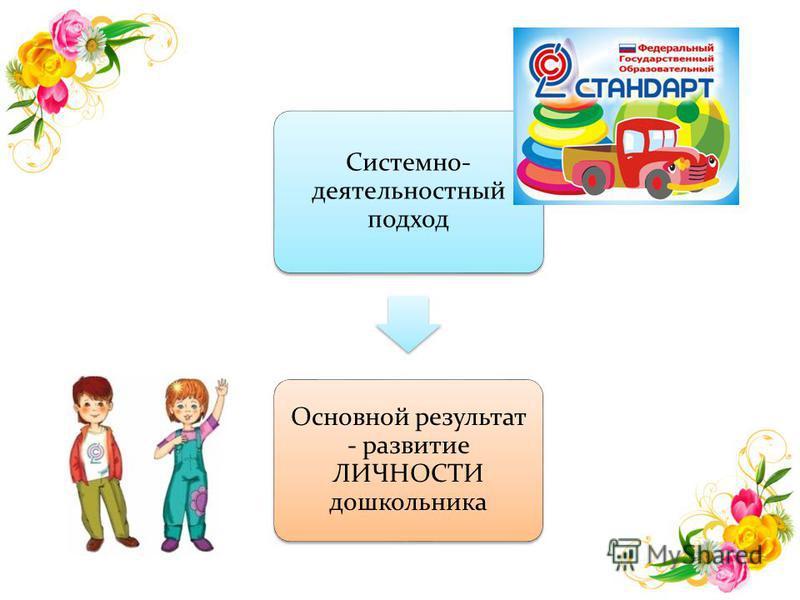Системно- деятельностный подход Основной результат - развитие ЛИЧНОСТИ дошкольника