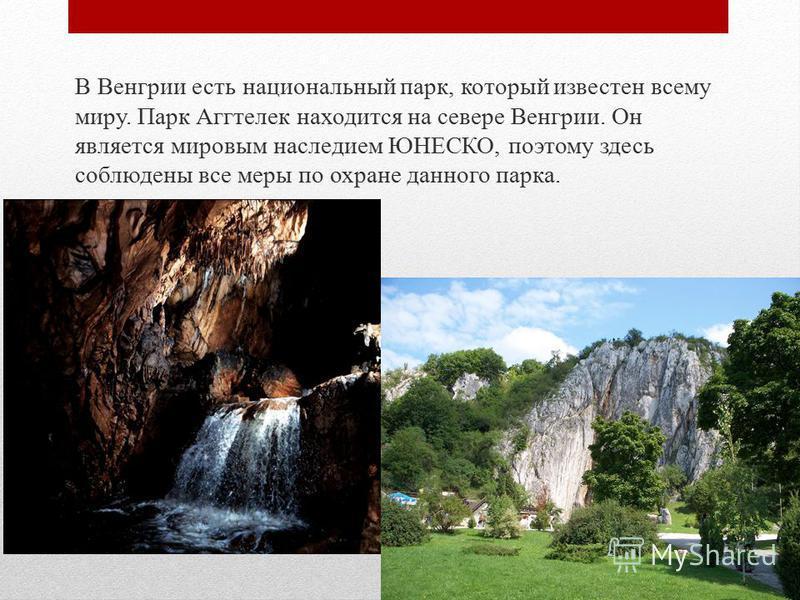 В Венгрии есть национальный парк, который известен всему миру. Парк Аггтелек находится на севере Венгрии. Он является мировым наследием ЮНЕСКО, поэтому здесь соблюдены все меры по охране данного парка.