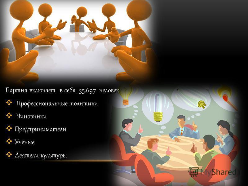 Партия включает в себя 35.697 человек: Профессиональные политики Чиновники Предприниматели Учёные Деятели культуры