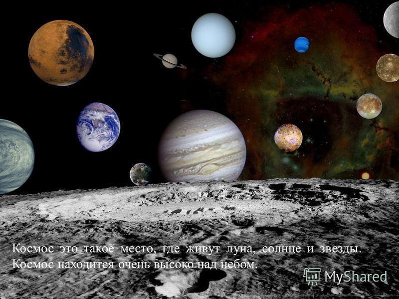 Космос это такое место, где живут луна, солнце и звезды. Космос находится очень высоко над небом.