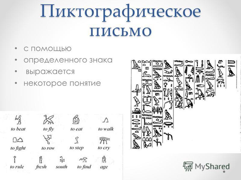 Пиктографическое письмо с помощью определенного знака выражается некоторое понятие