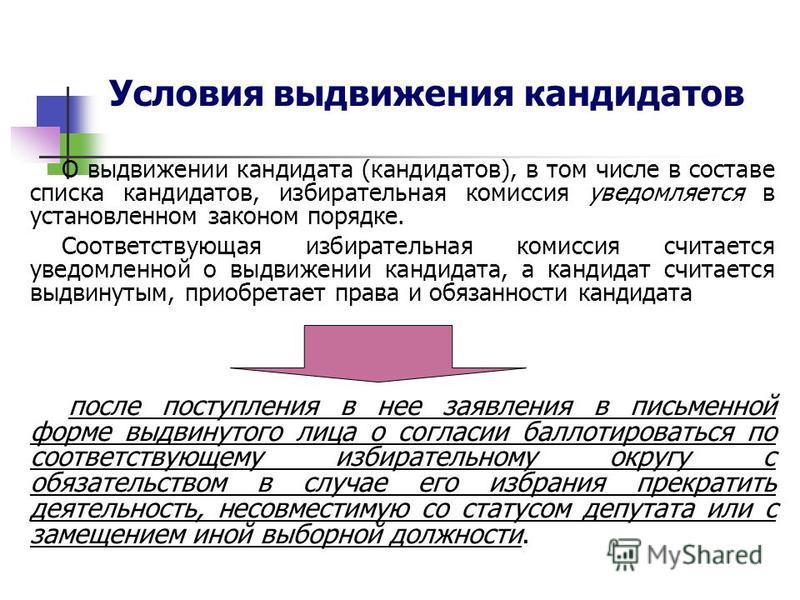 Условия выдвижения кандидатов О выдвижении кандидата (кандидатов), в том числе в составе списка кандидатов, избирательная комиссия уведомляется в установленном законом порядке. Соответствующая избирательная комиссия считается уведомленной о выдвижени