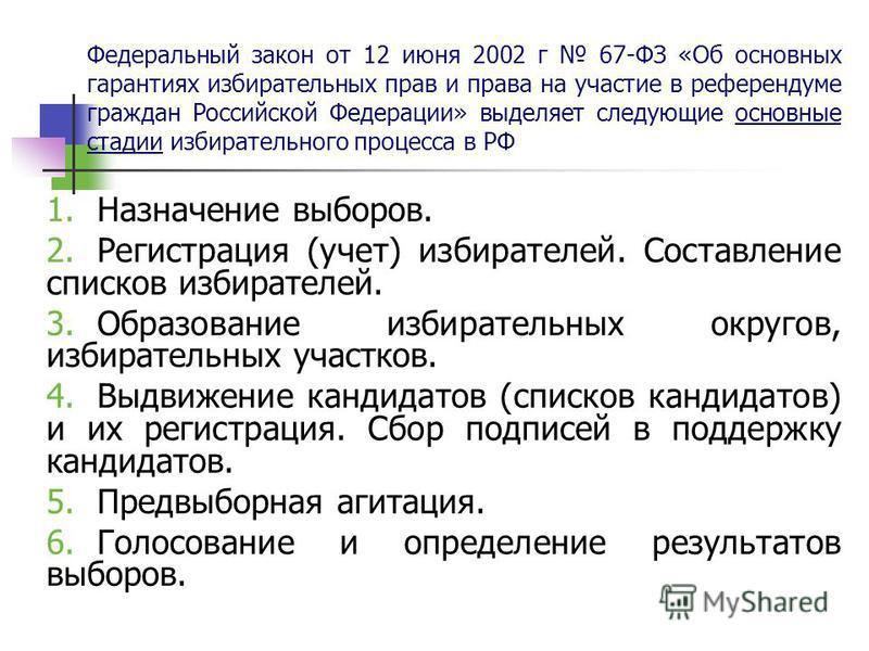 Федеральный закон от 12 июня 2002 г 67-ФЗ «Об основных гарантиях избирательных прав и права на участие в референдуме граждан Российской Федерации» выделяет следующие основные стадии избирательного процесса в РФ 1. Назначение выборов. 2. Регистрация (