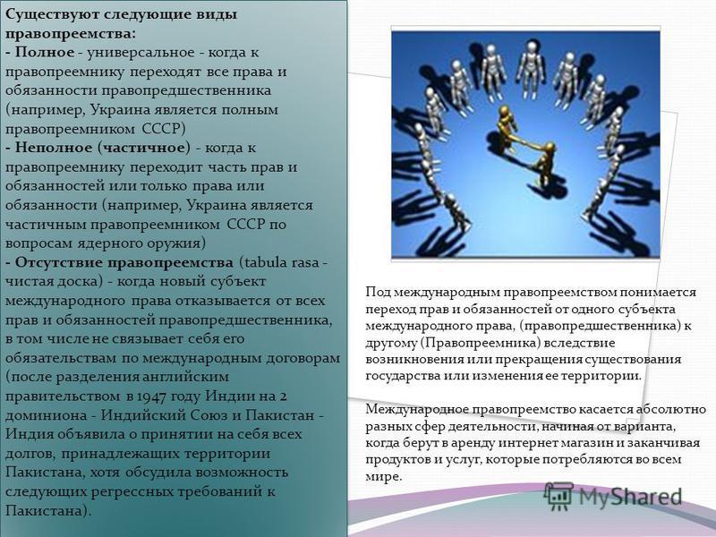 Существуют следующие виды правопреемства: - Полное - универсальное - когда к правопреемнику переходят все права и обязанности правопредшественника (например, Украина является полным правопреемником СССР) - Неполное (частичное) - когда к правопреемник