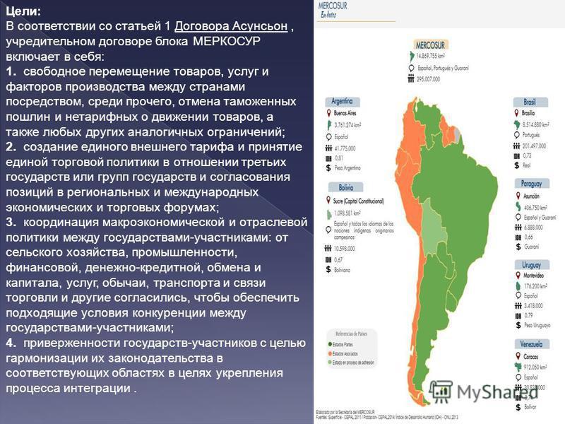 Цели: В соответствии со статьей 1 Договора Асунсьон, учредительном договоре блока МЕРКОСУР включает в себя: 1. свободное перемещение товаров, услуг и факторов производства между странами посредством, среди прочего, отмена таможенных пошлин и нетарифн
