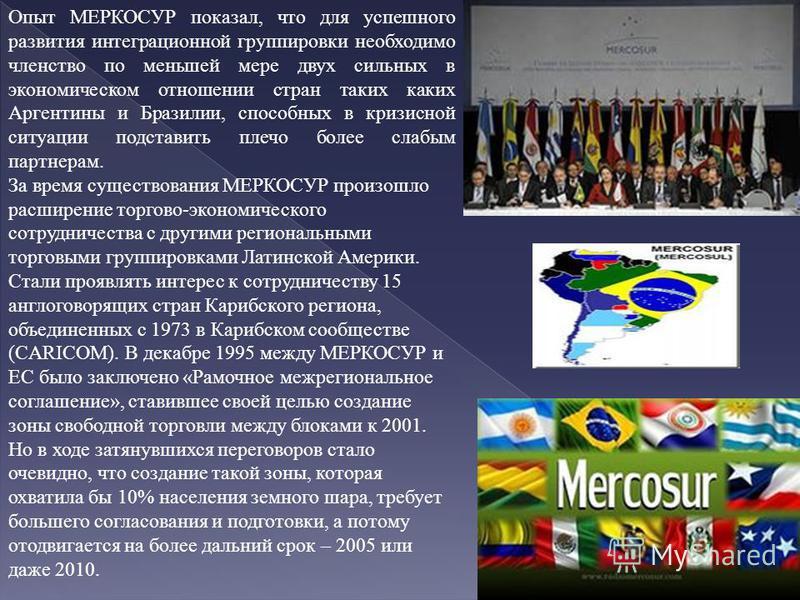 Опыт МЕРКОСУР показал, что для успешного развития интеграционной группировки необходимо членство по меньшей мере двух сильных в экономическом отношении стран таких каких Аргентины и Бразилии, способных в кризисной ситуации подставить плечо более слаб
