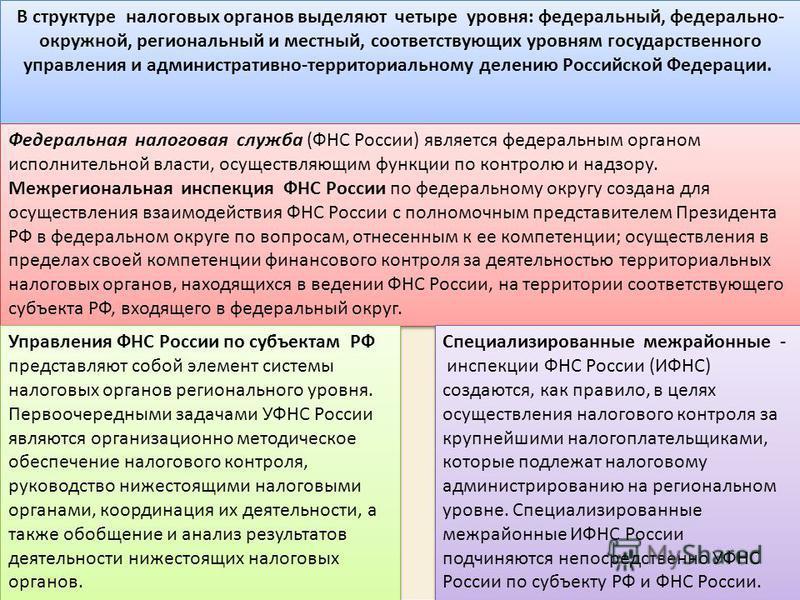 В структуре налоговых органов выделяют четыре уровня: федеральный, федерально окружной, региональный и местный, соответствующих уровням государственного управления и административно-территориальному делению Российской Федерации. Федеральная налогова