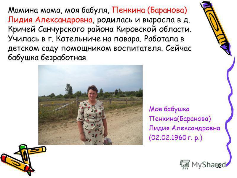 Мамина мама, моя бабуля, Пенкина (Баранова) Лидия Александровна, родилась и выросла в д. Кричей Санчурского района Кировской области. Училась в г. Котельниче на повара. Работала в детском саду помощником воспитателя. Сейчас бабушка безработная. Моя б