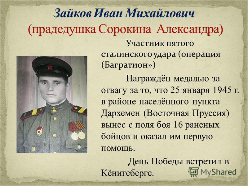 Участник пятого сталинского удара (операция (Багратион») Награждён медалью за отвагу за то, что 25 января 1945 г. в районе населённого пункта Дархемен (Восточная Пруссия) вынес с поля боя 16 раненых бойцов и оказал им первую помощь. День Победы встре