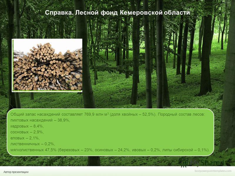 Автор презентации Справка. Лесной фонд Кемеровской области подпись Общий запас насаждений составляет 769,9 млн м 3 (доля хвойных – 52,5%). Породный состав лесов: пихтовых насаждений – 38,9%, кедровых – 8,4%, сосновых – 2,9%, еловых – 2,1%, лиственнич