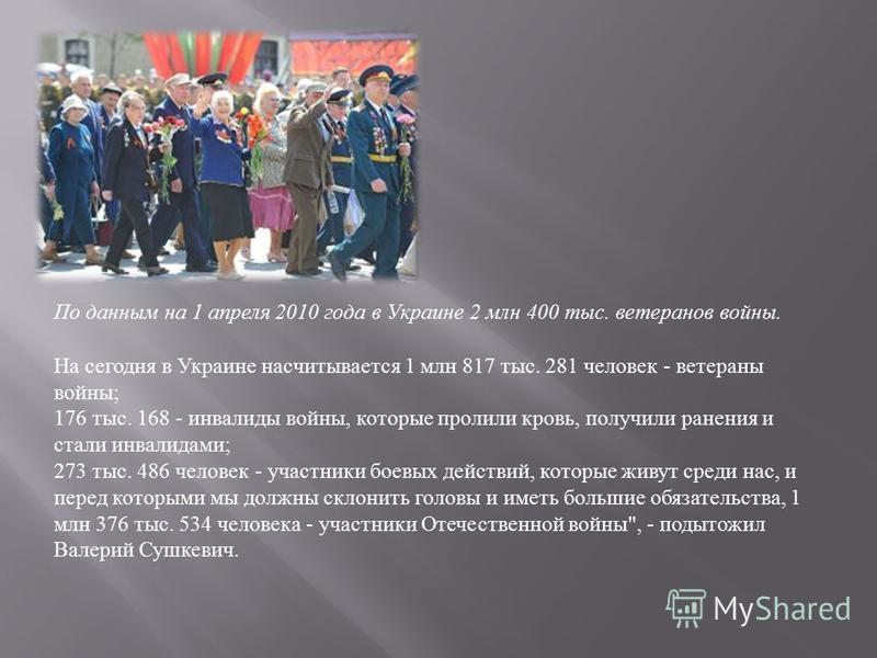 По данным на 1 апреля 2010 года в Украине 2 млн 400 тыс. ветеранов войны. На сегодня в Украине насчитывается 1 млн 817 тыс. 281 человек - ветераны войны ; 176 тыс. 168 - инвалиды войны, которые пролили кровь, получили ранения и стали инвалидами ; 273