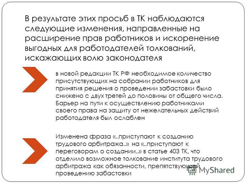 В результате этих просьб в ТК наблюдаются следующие изменения, направленные на расширение прав работников и искоренение выгодных для работодателей толкований, искажающих волю законодателя в новой редакции ТК РФ необходимое количество присутствующих н