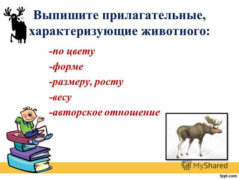 Выпишите прилагательные, характеризующие животного: -по цвету -форме -размеру, росту -весу -авторское отношение