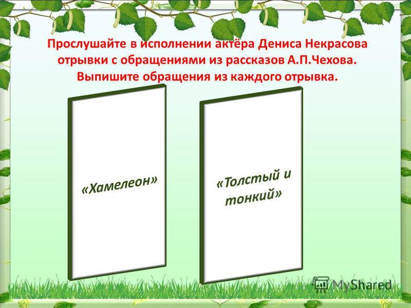 Прослушайте в исполнении актёра Дениса Некрасова отрывки с обращениями из рассказов А.П.Чехова. Выпишите обращения из каждого отрывка.