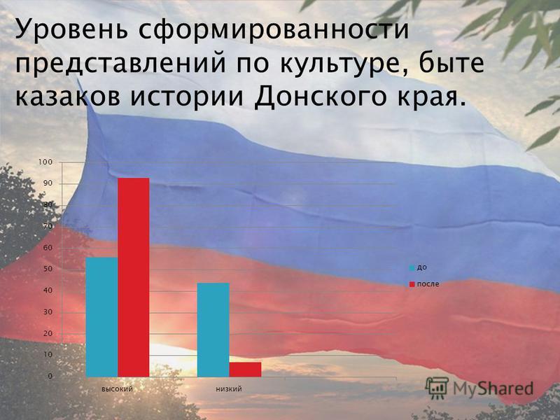 Уровень сформированности представлений по культуре, быте казаков истории Донского края.