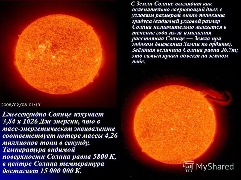 С Земли Солнце выглядит как ослепительно сверкающий диск с угловым размером около половины градуса (видимый угловой размер Солнца незначительно меняется в течение года из-за изменения расстояния Солнце Земля при годовом движении Земли по орбите). Звё
