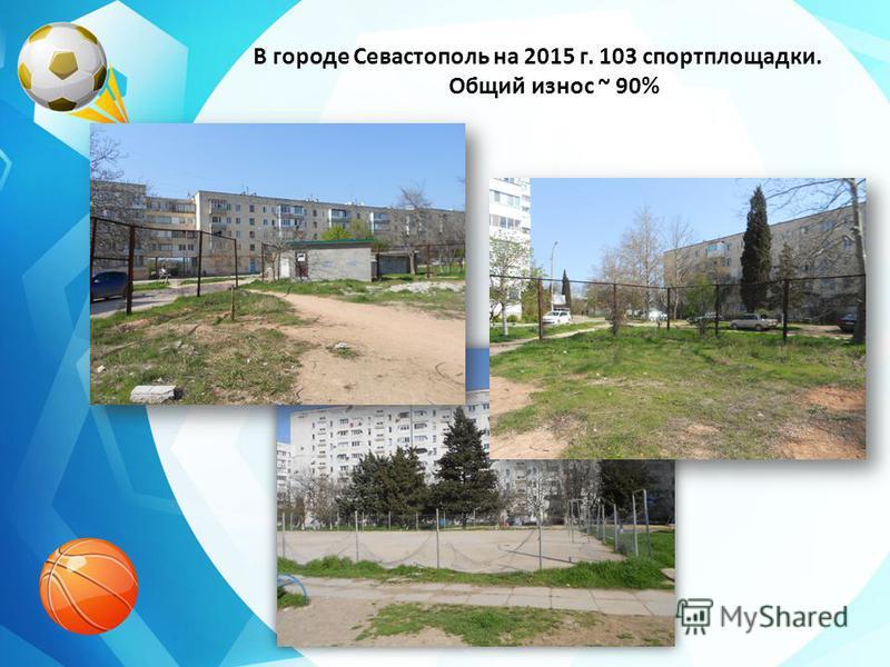 В городе Севастополь на 2015 г. 103 спортплощадки. Общий износ ~ 90%