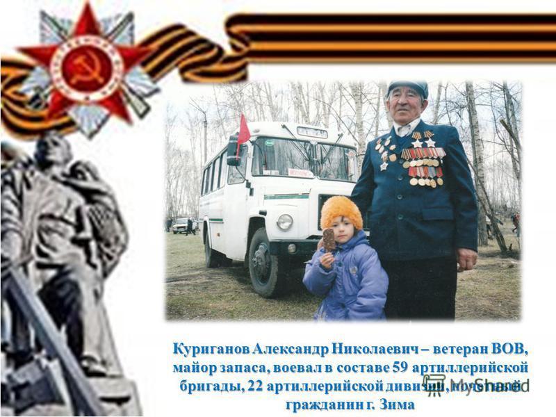 Куриганов Александр Николаевич – ветеран ВОВ, майор запаса, воевал в составе 59 артиллерийской бригады, 22 артиллерийской дивизии, почетный гражданин г. Зима