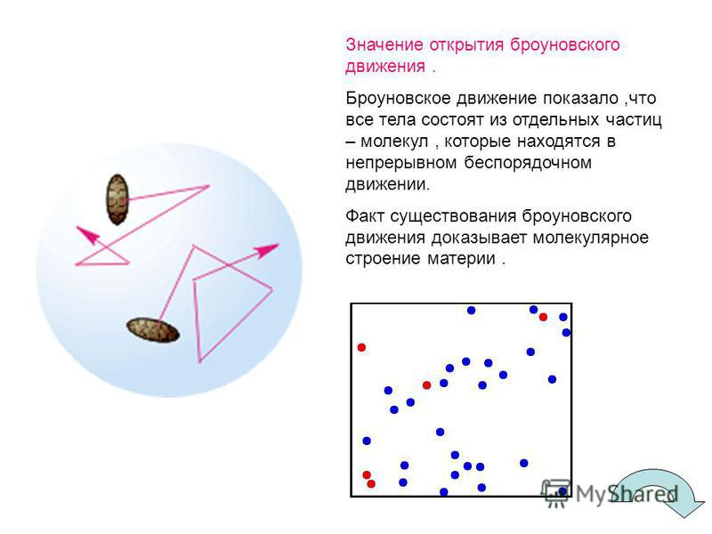Значение открытия броуновского движения. Броуновское движение показало,что все тела состоят из отдельных частиц – молекул, которые находятся в непрерывном беспорядочном движении. Факт существования броуновского движения доказывает молекулярное строен