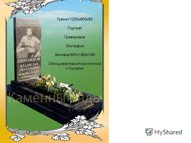 Гранит 1200 х 600 х 80 Портрет Гравировка Эпитафия Заливка 900 х 1800 х 150 Облицовка гранитной плиткой с торцами