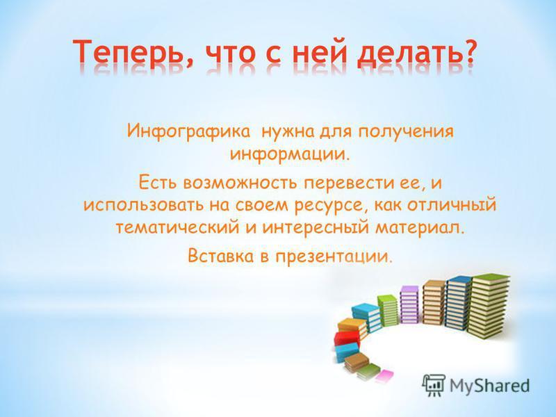 Инфографика нужна для получения информации. Есть возможность перевести ее, и использовать на своем ресурсе, как отличный тематический и интересный материал. Вставка в презентации.