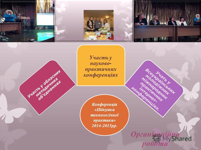 Організаційна робота Участь у обласних методичних об'єднаннях Участь у науково- практичних конференціях Учать у Всеукраїнських молодіжних міжнародних практичних інтернет- конференціях. Конференція «Підсумки технологічної практики» 2014-2015рр.