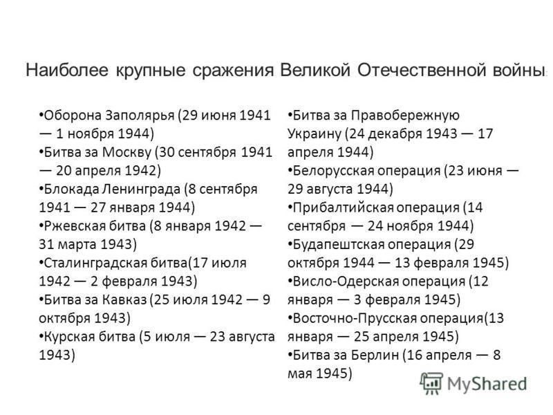 Оборона Заполярья (29 июня 1941 1 ноября 1944) Битва за Москву (30 сентября 1941 20 апреля 1942) Блокада Ленинграда (8 сентября 1941 27 января 1944) Ржевская битва (8 января 1942 31 марта 1943) Сталинградская битва(17 июля 1942 2 февраля 1943) Битва