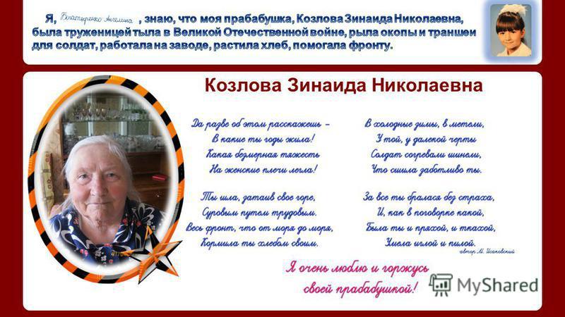 Козлова Зинаида Николаевна