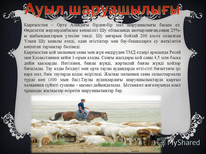 Қырғызстан – Орта Азиядағы бірден-бір мал шаруашылығы басым ел. Өңделетін жерлердіңбасым көпшілігі Шу облысында шоғырланған,оның 25%- ы шабындықтарың үлесіне тиеді. Шу аңғарын бойлай 200 км-ге созылған Үлкен Шу каналы өтеді, одан егістіктер мен бау-б