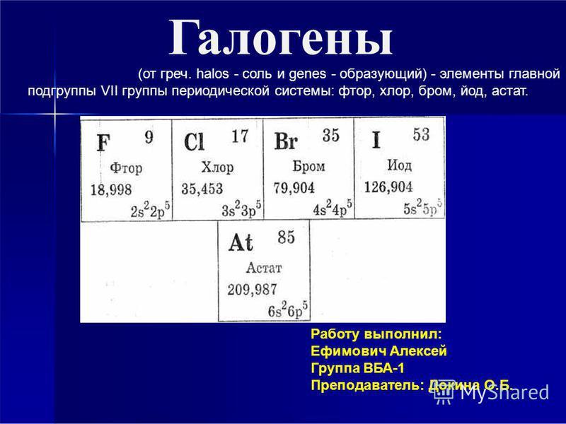Галогены Работу выполнил: Ефимович Алексей Группа ВБА-1 Преподаватель: Докина О.Б. (от греч. halos - соль и genes - образующий) - элементы главной подгруппы VII группы периодической системы: фтор, хлор, бром, йод, астат.