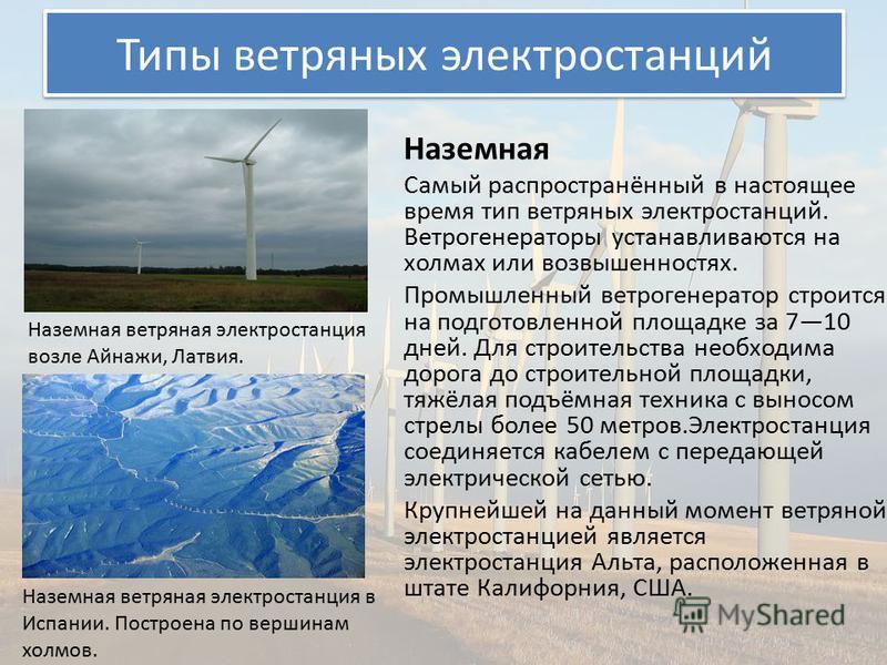 Типы ветряных электростанций Наземная Самый распространённый в настоящее время тип ветряных электростанций. Ветрогенераторы устанавливаются на холмах или возвышенностях. Промышленный ветрогенератор строится на подготовленной площадке за 710 дней. Для