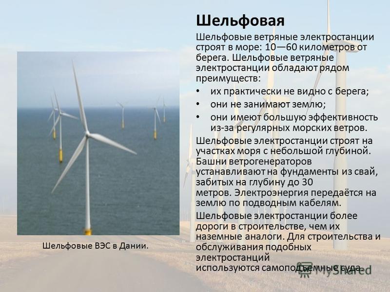 Шельфовая Шельфовые ветряные электростанции строят в море: 1060 километров от берега. Шельфовые ветряные электростанции обладают рядом преимуществ: их практически не видно с берега; они не занимают землю; они имеют большую эффективность из-за регуляр