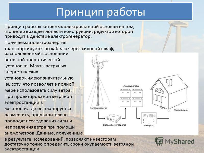 Презентация на тему Презентация на тему Ветровые электростанции  7 Принцип работы Принцип работы ветреных электростанций