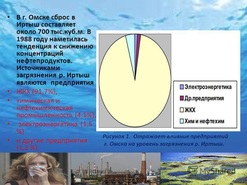 В г. Омске сброс в Иртыш составляет около 700 тыс.куб.м. В 1988 году наметилась тенденция к снижению концентраций нефтепродуктов. Источниками загрязнения р. Иртыш являются предприятия ЖКХ (91,7%), химическая и нефтехимическая промышленность (4,1%), э