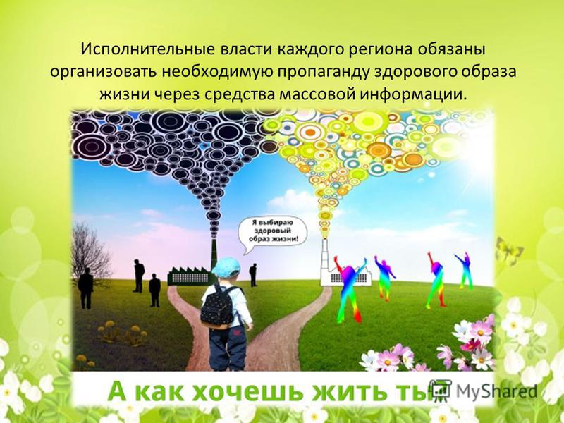 Исполнительные власти каждого региона обязаны организовать необходимую пропаганду здорового образа жизни через средства массовой информации.