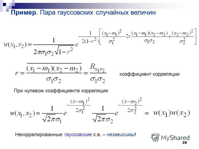 28 Пример. Пара гауссовских случайных величин коэффициент корреляции При нулевом коэффициенте корреляции Некоррелированные гауссовские с.в. – независимы!