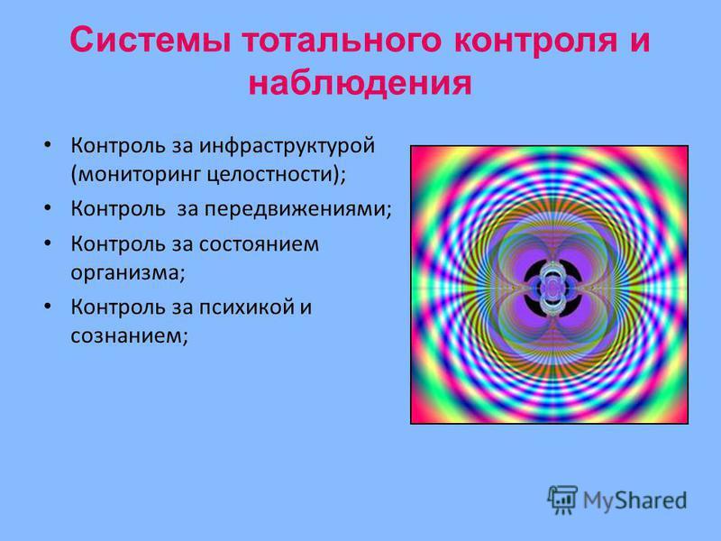 Системы тотального контроля и наблюдения Контроль за инфраструктурой (мониторинг целостности); Контроль за передвижениями; Контроль за состоянием организма; Контроль за психикой и сознанием;