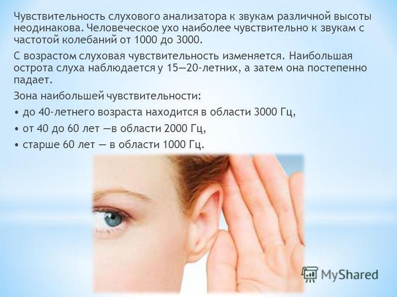 Чувствительность слухового анализатора к звукам различной высоты неодинакова. Человеческое ухо наиболее чувствительно к звукам с частотой колебаний от 1000 до 3000. С возрастом слуховая чувствительность изменяется. Наибольшая острота слуха наблюдаетс