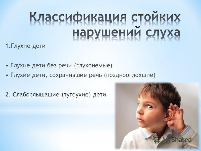 1. Глухие дети Глухие дети без речи (глухонемые) Глухие дети, сохранившие речь (позднооглохшие) 2. Слабослышащие (тугоухие) дети