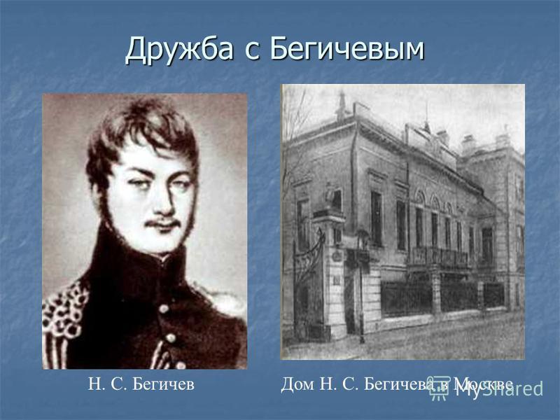 Н. С. Бегичев Дом Н. С. Бегичева в Москве Дружба с Бегичевым