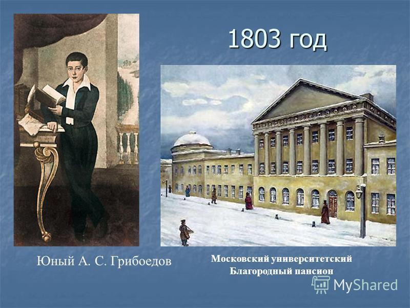 1803 год Юный А. С. Грибоедов Московский университетский Благородный пансион