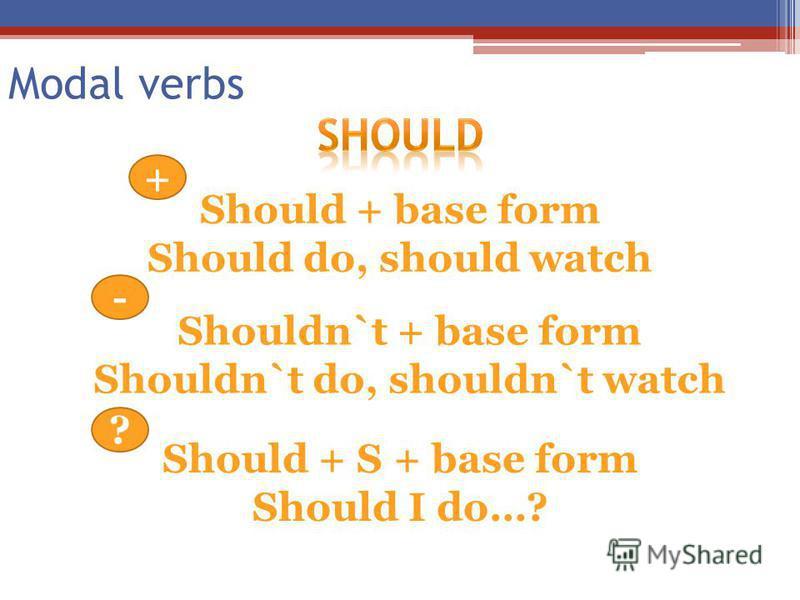 Modal verbs Should + base form Should do, should watch + - Shouldn`t + base form Shouldn`t do, shouldn`t watch Should + S + base form Should I do…? ?