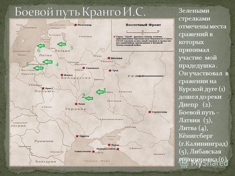 Зелеными стрелками отмечены места сражений в которых принимал участие мой прадедушка. Он участвовал в сражении на Курской дуге (1) дошел до реки Днепр (2). Боевой путь – Латвия (3), Литва (4), Кёнигсберг (г.Калининград) (5), Либавская группировка (6)