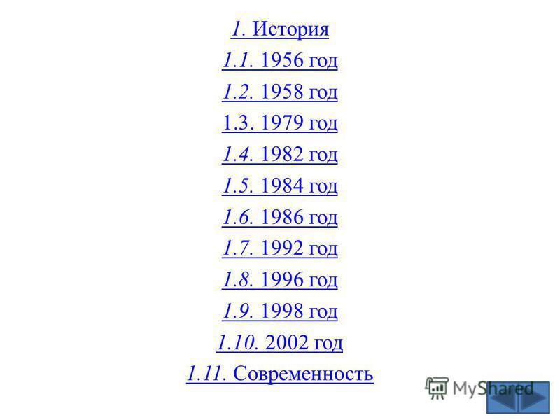 1. История 1.1. 1956 год 1.2. 1958 год 1.3. 1979 год 1.4. 1982 год 1.5. 1984 год 1.6. 1986 год 1.7. 1992 год 1.8. 1996 год 1.9. 1998 год 1.10. 2002 год 1.11. Современность