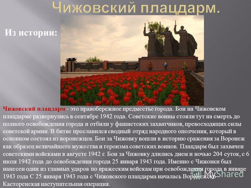 Чижовский плацдарм - это правобережное предместье города. Бои на Чижовском плацдарме развернулись в сентябре 1942 года. Советские воины стояли тут на смерть до полного освобождения города и отбили у фашистских захватчиков, превосходящих силы советско