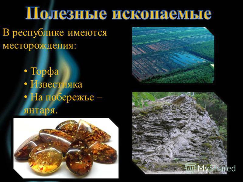 В республике имеются месторождения: Торфа Известняка На побережье – янтаря.