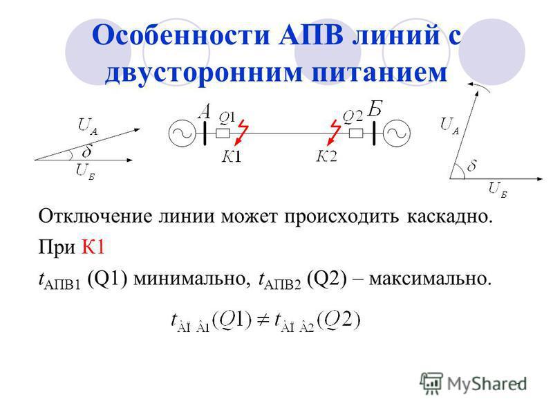 Особенности АПВ линий с двусторонним питанием Отключение линии может происходить каскадно. При К1 t АПВ1 (Q1) минимально, t АПВ2 (Q2) – максимально. 7